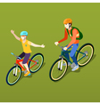 Isometric People Isometric Bicycle Father and Son vector image