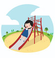 little girl playing slider enjoying in playground vector image