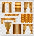luxury gold curtains transparent set vector image vector image