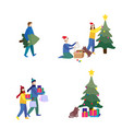 merry christmas and happy new year flat set vector image vector image