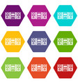 music center icon set color hexahedron vector image vector image
