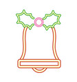 neon bell leaves merry christmas vector image vector image