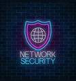 network security glowing neon sign on wall vector image vector image