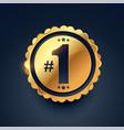number one award winner golden label design vector image vector image