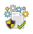 online security flat line icons vector image vector image