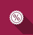 percent symbol discount icon with long shadow vector image vector image
