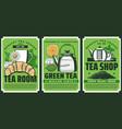 premium quality herbal tea shop teapot posters vector image vector image