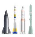 realistic rocket spaceships launch futuristic vector image vector image