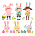 set characters and icons on easter theme vector image vector image