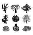 set of black coral silhouettes vector image vector image