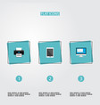 set of pc icons flat style symbols with printing vector image