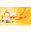 shower gel cream bottle with flowers chamomile vector image