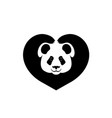 silhouette of face of panda paws shows sign heart vector image vector image