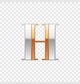 silver and gold font symbol alphabet letter h vector image