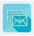 Single flat square mail icon with long shadow vector image