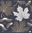 skeleton maple leaves and seeds seamless pattern vector image