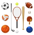sport equipment icons sports exercises vector image