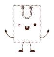 square animated kawaii shopping bag icon with vector image vector image
