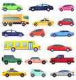 transport set bus and taxi automobile vehicles vector image vector image