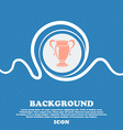 Trophy sign Blue and white abstract background vector image