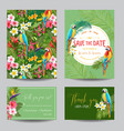 tropical flowers and parrots wedding invitation vector image vector image