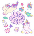 welcome unicorn party text isolated on pastel vector image vector image