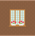 window and flower pot on brick wall flat design vector image vector image