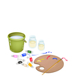 Color Paint in Palette with Brush and Bucket vector image