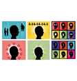 male head silhouettes set vector image