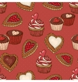 Seamless Background with Cookies and Cupcakes vector image