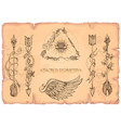 arrows flowers and wings a set of cards in the vector image vector image