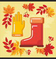 autumn agricultural icons with autumn leaves 4 vector image