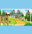 background scene with big castle towers in the vector image vector image
