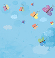 Background with sky and butterflies - watercolor vector image vector image