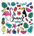 big set hand drawn cute cartoon summer symbols vector image