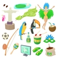 Brazil icons set cartoon style vector image vector image
