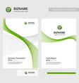 business brochure design with green theme and vector image