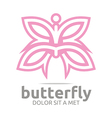 butterfly leaf pink insect spring symbol vector image