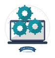call center technology gears cooperation vector image