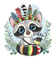 cartoon raccoon with feathers on a blue background vector image vector image