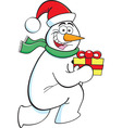 Cartoon snowman running with a gift vector image vector image