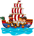 Children riding on viking ship at sea vector image vector image