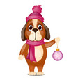 cute animated dog in a scarf and hat is holding vector image