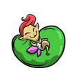cute happy smiling fairy with red hair stay on vector image vector image