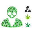 death man collage of weed leaves vector image