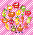 different kind fruits and vegetables vector image vector image