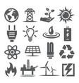 energy icons set on white background vector image