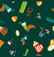 food and drink seamless pattern vector image vector image