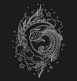 hand drawn sea fish on a black background vector image