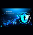 hand touch protection shield blue polygonal over vector image
